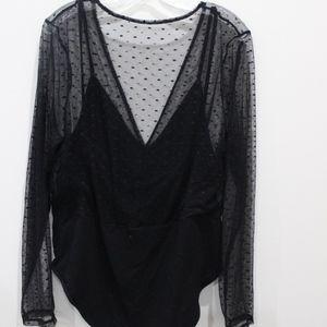 SHEIN Tops - Shein plus contrast dot mesh plunge bodysuit